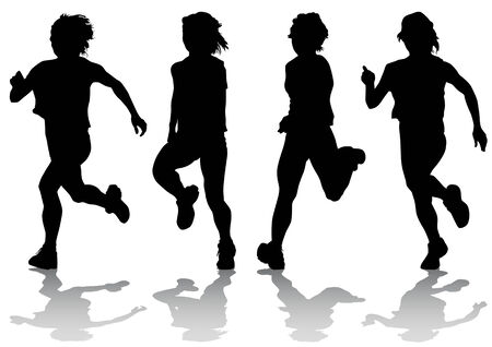 sprinting: Vector drawing fleeing girls. Silhouettes on an white background