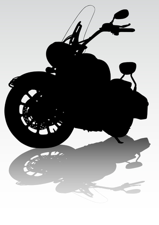 Vector drawing motorcycl on the road. Silhouette on a colored background Vector