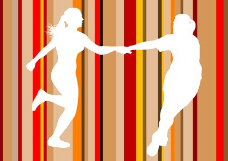 relay: Vector drawing running athletes. Transfer relay sticks Illustration