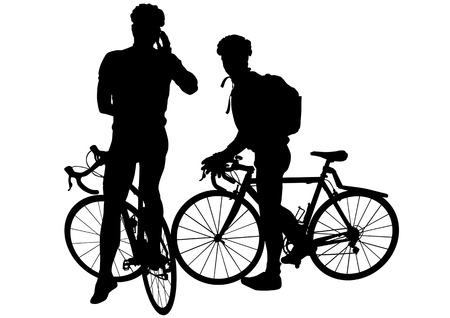 Vector image of two men on bicycles. Silhouettes on white background Vector