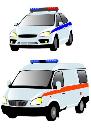 Vector drawing of ambulances and police. Isolated objects on a white background Vector