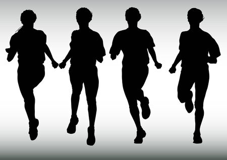 sprinting: Vector drawing competitions in running. Silhouettes of crowd running