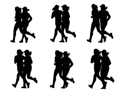 Vector drawing competitions in running. Silhouettes of two girls running Stock Vector - 6435648