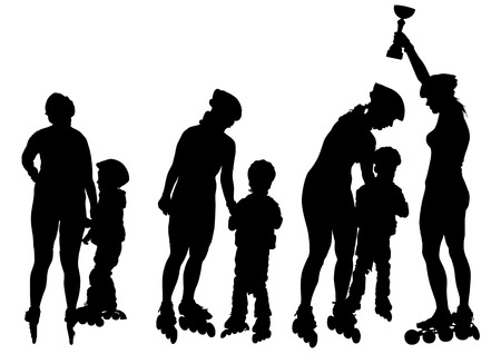 Vector drawing women and children on skates. Silhouette on white background Vector