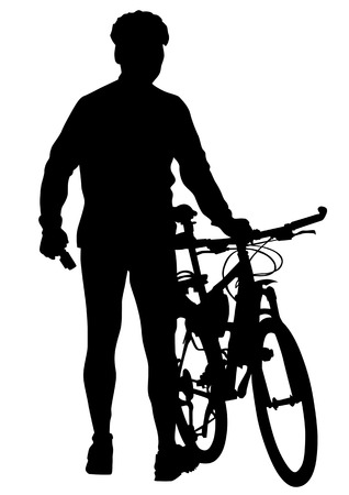 drawing silhouettes cyclists on vacation Vector
