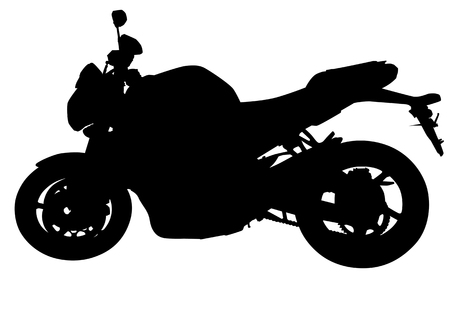 motorized sport: drawing black motorcycle. Silhouette on a white background Illustration