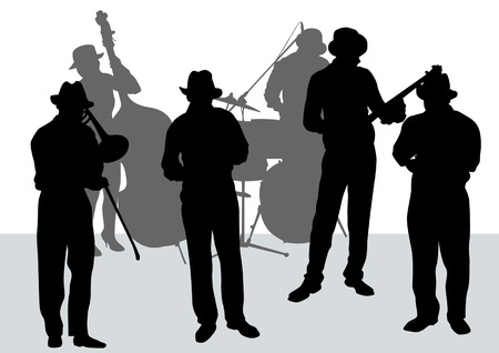 jazz: drawing music jazz orchestra. People with musical instruments
