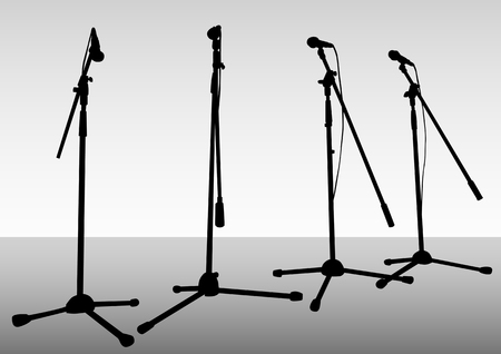 arts and entertainment: drawing of microphones on theatrical stage Illustration