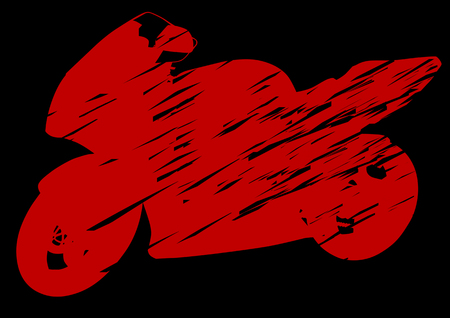 transportation silhouette: drawing motorcycle on red background. Silhouette on a black background