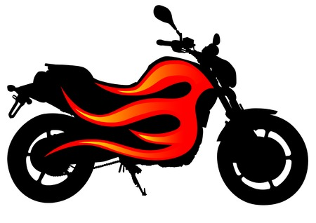 моторизованный: drawing motorcycle on red fire. Silhouette on a white background