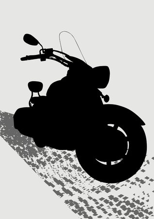 drawing motorcycle on gray road. Silhouette on a white background Vector