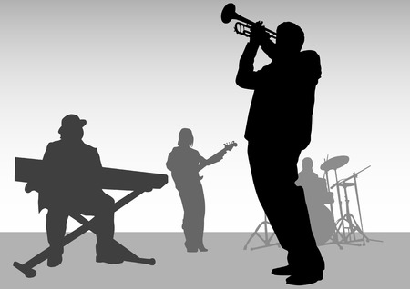 bands: drawing music jazz orchestra. People with musical instruments