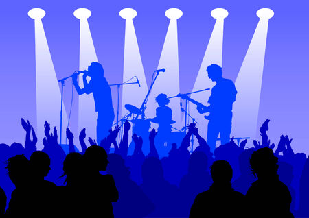 listeners: drawing musical group on stage