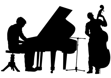 drawing pianist and bass on stage. Silhouettes on white background Vector