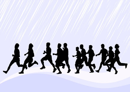 drawing competitions in running. Silhouettes of boys running Stock Vector - 6486295