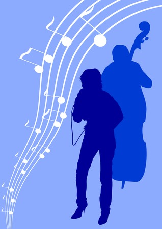drawing girl singing and with a microphone. Silhouettes on blue background Vector