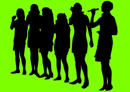nude female: drawing girls singing with a microphone. Silhouettes on green background Illustration