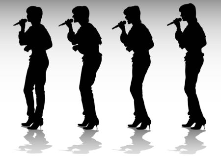drawing girls singing with a microphone. Silhouettes people Vector