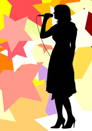 drawing one girl singing with a microphone. Silhouettes on color stars background Vector