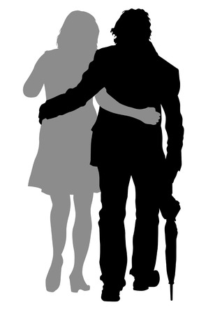 Vector drawing men and women. Silhouettes of people Vector