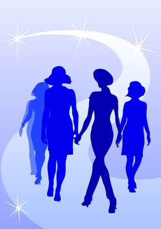 Vector drawing fashion models on scene. Silhouettes womens Stock Vector - 6529447
