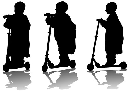 siluettes: Vector drawing a small child on scooter. Silhouette on white background