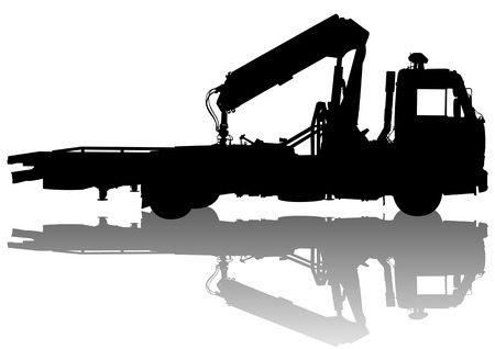 tow truck: Vector drawing towing for cars. Silhouette on white background