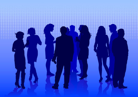 social gathering: Vector drawing crowds on holiday. Silhouettes of men and women