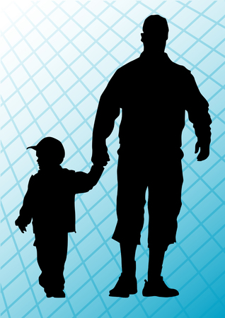 two parent family: drawing father and son. Silhouettes of people