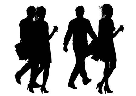 heterosexual couple: drawing loving men and women. Silhouette of people Illustration