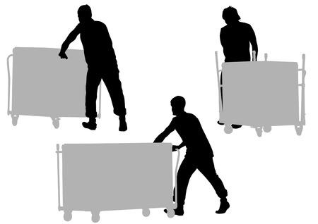 carrying box: dibujo hombres tirando de carro de la compra. Silueta sobre fondo blanco