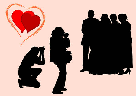 drawing of photographers at a wedding. Silhouettes on a white background Vector