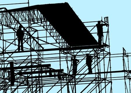 andamios: Dibujo de la construcci�n de estructuras y trabajo vectorial