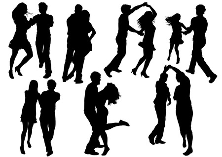 Vector drawing dancing couples. Silhouettes on white background Vector