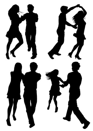 Vector drawing dancing couples. Silhouettes on white background Stock Vector - 6581634