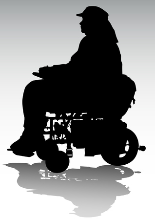 physical impairment: Vector graphic disabled in a wheel chair. Silhouettes on a white background Illustration