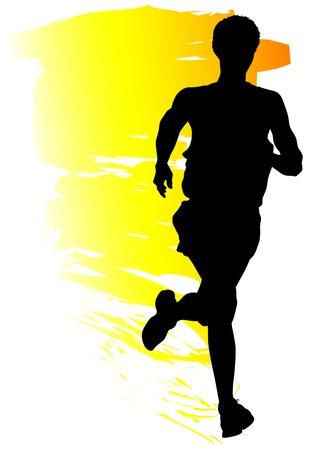 hacer footing: Vector de concursos de dibujo en ejecuci�n. Siluetas de muchachos que ejecutan Vectores