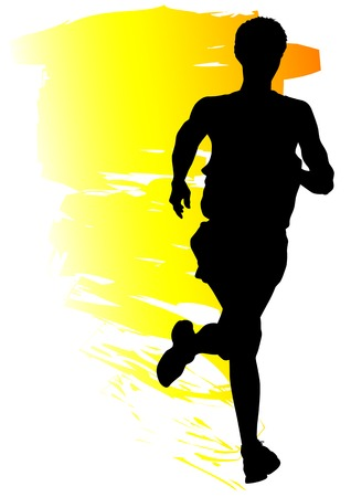 jogging: Vector drawing competitions in running. Silhouettes of boys running Illustration