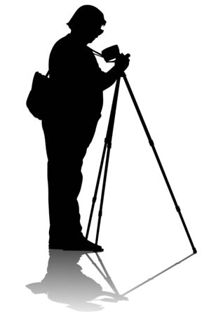 Vector image of young photographers with equipment at work Stock Vector - 6581506