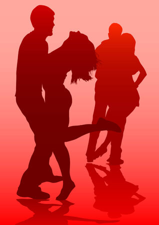 Vector drawing dancing couples. Silhouettes on red background Vector