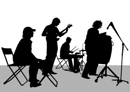 Vector drawing musical group on stage  Vector
