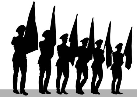 Vector drawing of a soldier on parade. Silhouettes on white background Vector