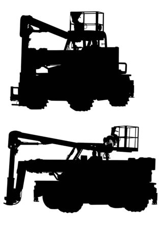 traction device: Vector drawing of a tractor for construction work. Silhouette on white background