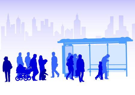 passenger buses: Multitudes de dibujo vectorial en la parada de transporte p�blico  Vectores