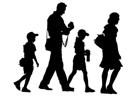 morning walk: Vector drawing parents and children. Silhouettes of people