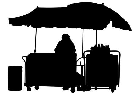 carrying box: Vector hombres tirando de carro de la compra de dibujo. Silueta sobre fondo blanco