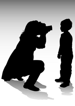 fotografi:  immagine del fotografo e bambini. Sagome su sfondo bianco Vettoriali