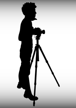 tripod:  image of young photographers with equipment at work Illustration