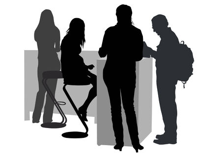 places of work:  drawing man and women from office. Images workplace Illustration