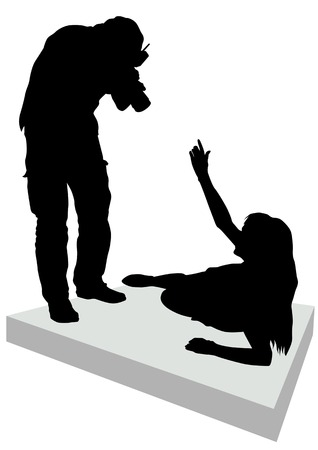 image of photographer and model. Silhouette people Vector